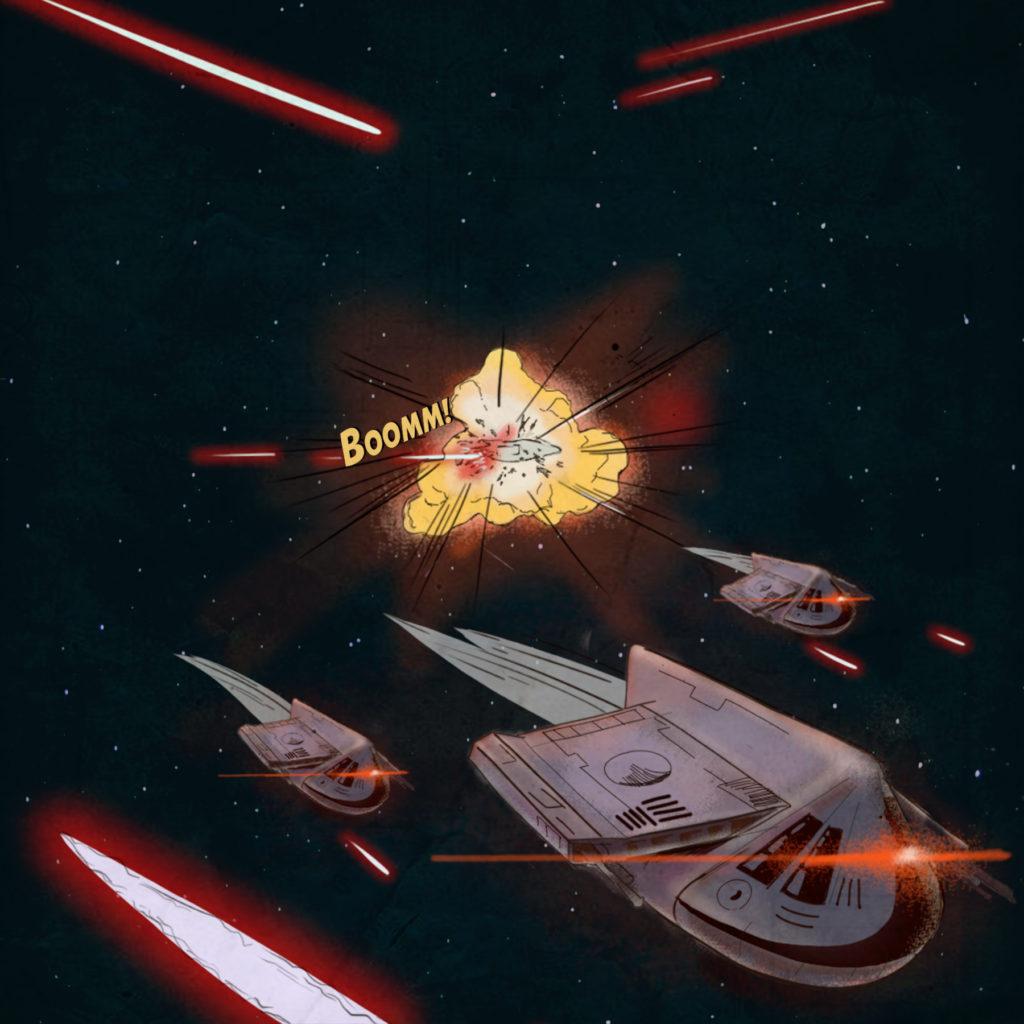 敵船と撃破される左翼